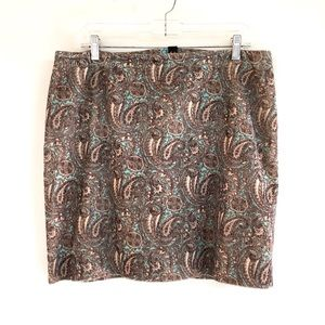 Jones NY Corduroy Skirt Brown & Turquoise sz 14P